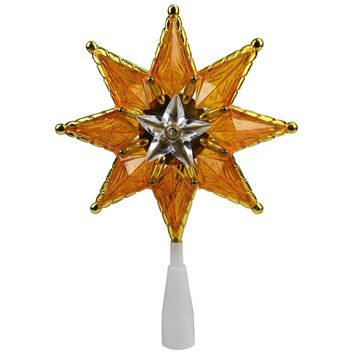 "8"" Gold Mosaic 8-Point Star Christmas Tree Topper Clear Lights"