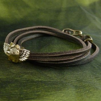 Flying Pig Bracelet - Bronze Flying Pig on Leather Bracelet