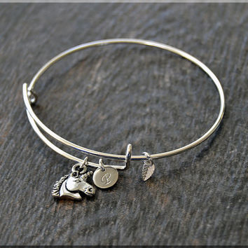 Silver Unicorn Charm Expandable Bangle Bracelet, Adjustable Bangle, Stacking Charm Bracelet, Personalized Charm Bangle, Fairy Tale Jewelry