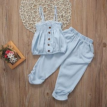 Kid Girls Child Jeans Top T-shirt +Pants Outfit Set Clothes Strap Baby Tops Bottoms Clothing Summer