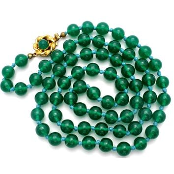 Emerald Green Glass Bead Necklace Vintage 26""