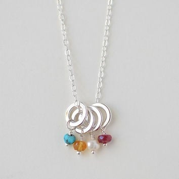 Mothers Necklace, Multi Birthstone Necklace, Sterling Silver, Small Circles, Genuine Birthstones