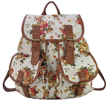 White Vintage Floral Print Backpack