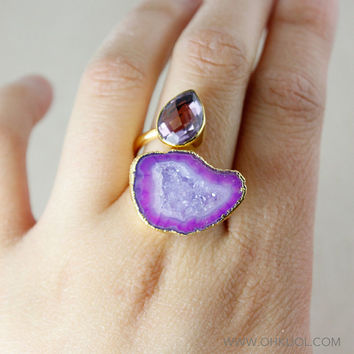 SALE Purple Druzy Dual Ring - Pink Amethyst - Statement Ring
