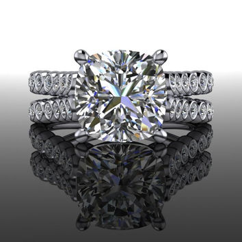 Forever Brilliant Moissanite and Diamond Engagement Ring Cushion Cut 2.85 CTW