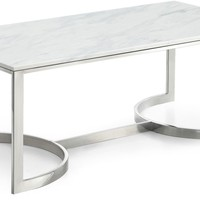 Copley Chrome Coffee Table Genuine Marble Top