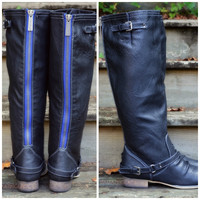 SZ 5.5 Montana Maple Black Blue Zipper Riding Boots