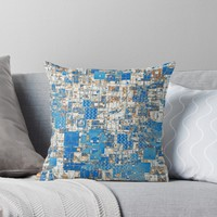 'Geometrical Multi Pattern Faded Blues Design' Throw Pillow by Sheila Wenzel