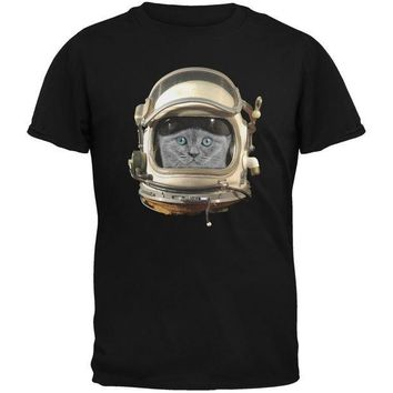 CREYCY8 Astronaut Cat Black Adult T-Shirt