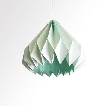 Water Drop / Origami Paper LampShade - Mint green