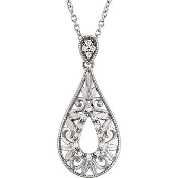 "Sterling Silver 1/10 CTW Diamond 18"" Teardrop Filigree Necklace"