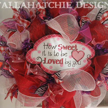 "Valentine's Day Deco Mesh Wreath Valentine "" How Sweet It Is To Be Loved By You"" Wreath Red Pink & Purple Valentine Wreath Red Door Wreath"