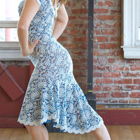 Vintage inspired blue and ivory lace dress. Tango dress.