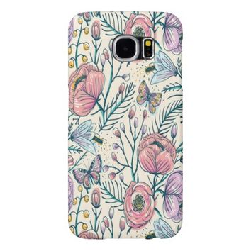 Vintage Rose Flower Pattern Samsung Galaxy S6 Cases