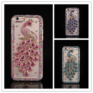 Bling Diamond Peacock Case For iphone 7 6 6S Plus 5 5S 5C 4S For Samsung Galaxy Note 7 5 4 3 2 S7 S6 Edge Plus S5/4/3 A8/7/5/3