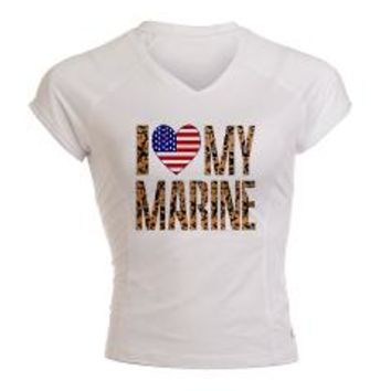 I Love My Marine Peformance Dry T-Shirt> I (heart) MY MARINE> Flags of Nations and Stuff