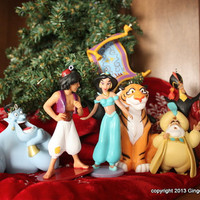 Aladdin Disney 7 piece Christmas ornament set Jasmine Genie Jafar Rajah Sultan Magic Carpet