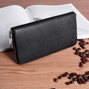 High Quality Men Wallet Long Zipper Composite Cowhide Leather Wallet Male Clutch Cellphone Wallet Big Capacity Card Holder Purse