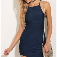 Party dresses > Ruched Halter Dress In Navy Blue