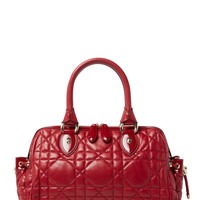 Christian Dior Women's Red Cannage Quilted Lambskin Tote - Red