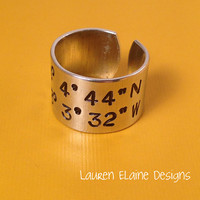 Custom Hand Stamped Longitude Latitude Aluminum Ring- Add Your Own Coordinates