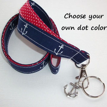 Lanyard  ID Badge Holder - Lobster clasp and key ring Charm - design your own - navy blue white anchors -  red dots - two toned double sided