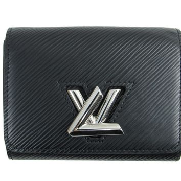 Auth LOUIS VUITTON Portefeuille Twist Compact Wallet M64414 Epi Noir Black