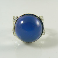Mood Ring Silver over Brass Round Stone