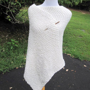 White with Gold Hand Knit Wedding Prayer Shawl with Pocket or not