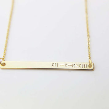 Personalized Roman Numeral Date Bar / Hand-Stamped Engraving Initial Monogram Personalized Gift