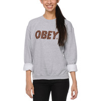 Obey Cheetah Font Grey Crew Neck Sweatshirt