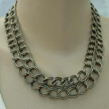 Double Strand Large Loop Link Chain Necklace Vintage Jewelry