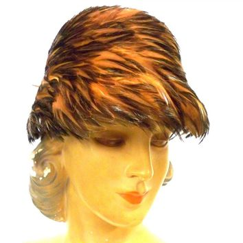 Vintage Ladies Pheasant Feather Hat Bucket Hat 1950s Orange & Turquoise Accents