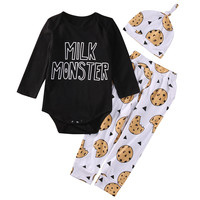 2016 Newest Fashion Newborn Baby Boys Girls Top letter long sleeve Romper +Long Pants Hat 3PCS Outfits Set Clothes