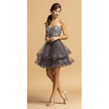 Sweetheart Neckline Short Homecoming Dress Charcoal