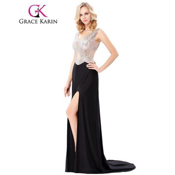Grace Karin Sexy Beaded Sleeveless V Neck Evening Dress Backless 2017 New Arrival See Through High Split Party Gown Formal Dress