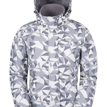 Mountain Warehouse Dawn Women's Printed Ski Jacket - Snow Proof, Insulated & Fleece Lined With Adjustable Hem, Cuff & Hood - Great For Skiing & Snowboarding Grey 18