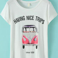 White Short Sleeve Bus Print Graphic T-Shirt