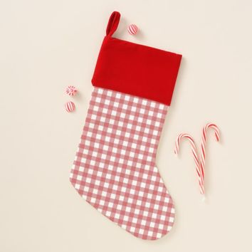 Red Vintage Check Design Christmas Stocking