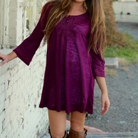 Monoreno Plum Embroidered Knit Sweater Dress