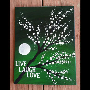 Live Laugh Love Sign, Handpainted tree wall decor, Green wall decor, Canvas paintings, Acrylic paintings, Cherry blossom tree painting