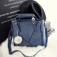 Blue Leather Chic Stylish Crossbody Handbag Shoulder Bag