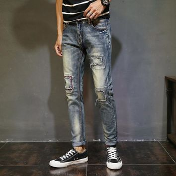 Men Jeans Stretch Skinny Distressed Hole Patchwork Washed Men Denim Pants Casual Retro Ripped Pleated Men Denim Jeans Straight