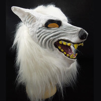 Hot Scary Wolf Mask Brown Wolf Full Head Animal Latex Mask Mardi Gras Cosplay Halloween Party Novelty Prom Gift