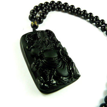 Guan Yu Pendant, Mens Beaded Necklace, Carved Obsidian Pendant, Black Onyx, Mens Pendant, Necklace for Man, Chinese God of War, Buddhist God