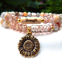 CHOOSE YOUR WORD Strength Bracelet with a Sunflower Charm