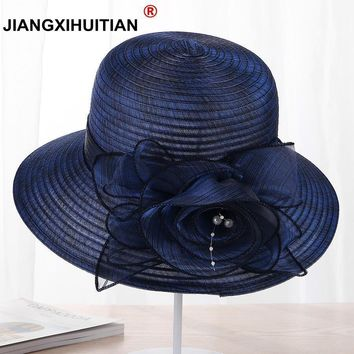 Floral Bow Light-Weight Wide Brim Summer Hat
