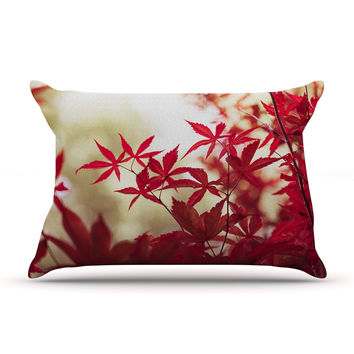 """Ann Barnes """"September Afternoon"""" Red Leaves Pillow Case"""