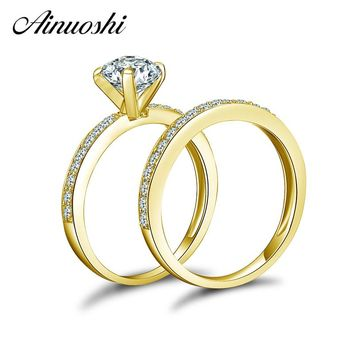 AINUOSHI 10K Solid Yellow Gold Wedding Ring Sets 1 ct Round Cut Sona Simulated Diamond Shinning Bague Women Engagement Ring Sets