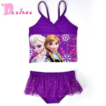 2018Summer Girls Beachwear Split Two Piece Swimwear Elsa Anna Swimming Bathing Suit Infantil Gilrs Bikini Swimweaer Costume 3-9Y